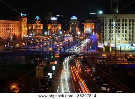 Kyiv, Ukraine - November 10: Night Panorama Of Maidan Nezalezhnosti (independence Square), The Centr
