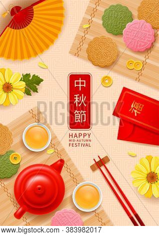 Mid Autumn Festival Celebration Vector Background. Traditional Chinese Moon Cakes, Teapot With Cups,
