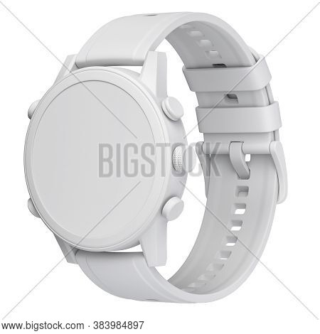 Clay Render Of Men Sport Watch Isolated On White Background - 3d Illustration