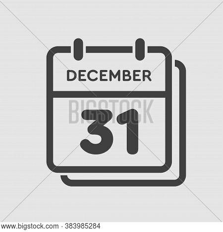 Calendar Icon Day 31 December, Template Icon Day