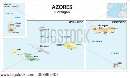 Administrative Vector Map Of The Portuguese Archipelago Azores In The Atlantic Ocean, Portugal