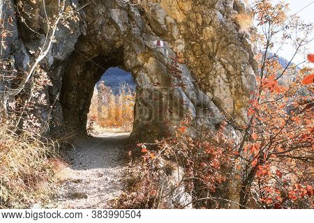 Ancient Handmade Tunnel Dug In Limestone Rocks In Cheile Nerei