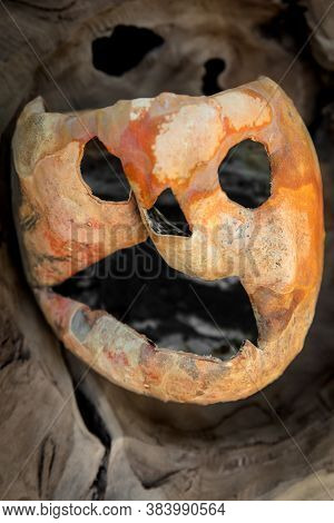 Horror Halloween Pumpkin Face Or Jack O Lantern For Traditional Trick Or Treat