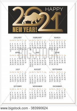 Bull. 2021. Calendar. Chinese New Year. Vector Calendar, Planner Diary. Silhouette Of A Golden Bull