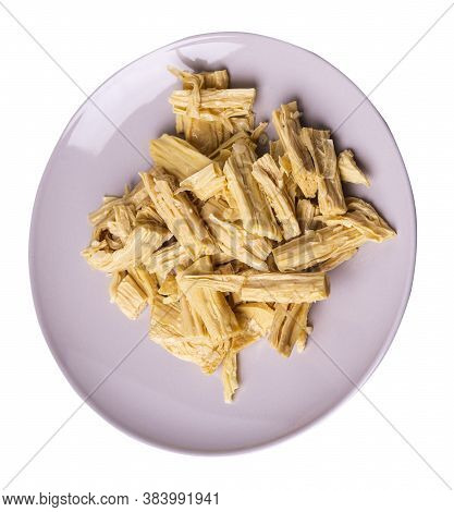 Soy Asparagus Noodles On Beige Plate, Isolated On A White Background. Healthy Food . Asian Food. Soy