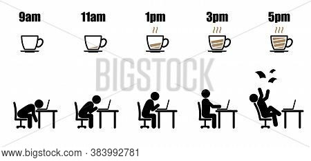 Working Hours Life Cycle From Nine Am To Five Pm Concept In Black Stick Figure Working On Laptop At