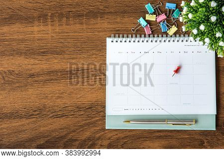 The Top View Blank Calendar On Desk Office For Copy Space Composition