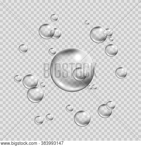 Soapy Bubbles Isolated On Transparent Background. Fizzing Air Bubbles Stream. Circle Air Bubbles In