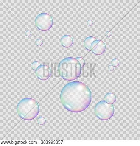 Realistic Rainbow Color Bubbles. Colorful Soap Bubbles. Vector Illustration Isolated On Transparent