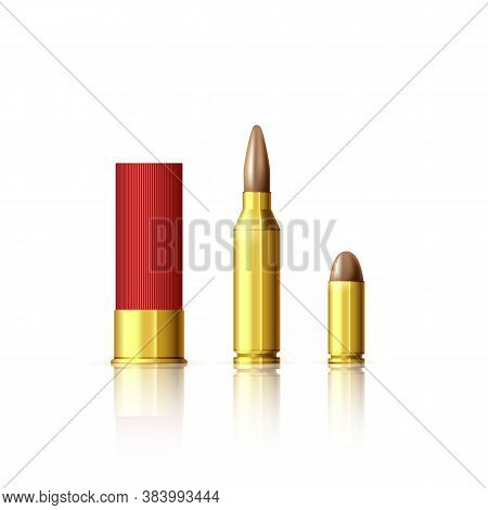 Different Types Of Cartridges. Realistic Bullet And Cartridge. Vector Illustration Isolated On White