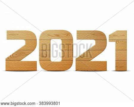 New Year 2021 Of Wood Isolated On White Background. Wooden Planks In Shape Of Year Number. Design El