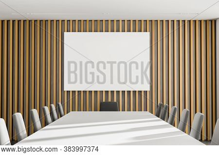Close Up Of Mock Up Poster Hanging In Wooden Meeting Room With Long Conference Table. 3d Rendering