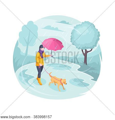 Pet Walking In Rain, Woman With Dog, Isometric Flat Illustration. Girl With Dog On Leash Walking At