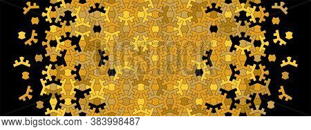 Arab Vector Seamless Pattern. Geometric Arab Rich Luxury Black And Gold Mosaic Pattern Background.