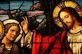 Stained glass showing Jesus blessing a man poster