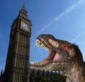 A humorous hoax image of a Tyrannosaurus Rex in a menacing pose in front of the Houses Of Parliament In London. poster