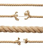 collection of various ropes on white background. each one is shot separately poster