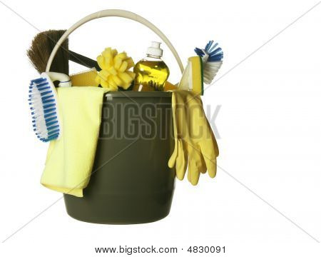 Cleaning Supplies Bucket Isolated