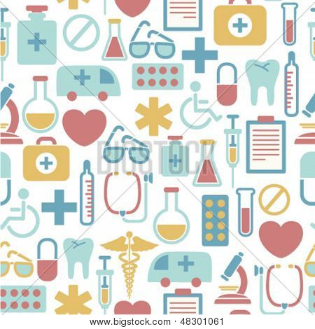 seamless pattern with medical icons