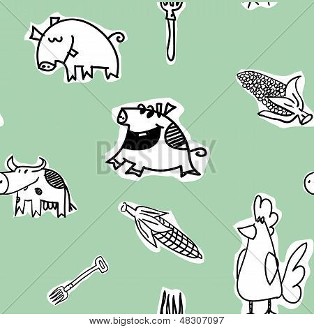 Seamless Pattern - Cows, Hens, Pigs