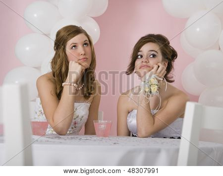 Bored teenager girls at prom