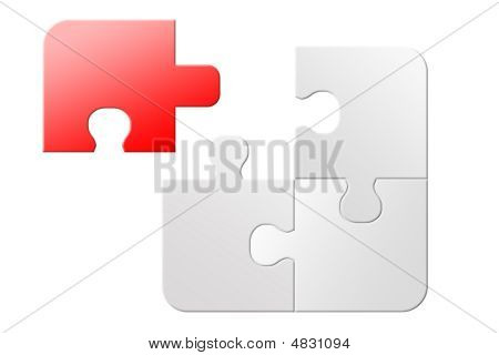 Red and white no success 3d jigsaw puzzle unsolved poster