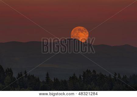 Moonrise Over Oregon Landscape