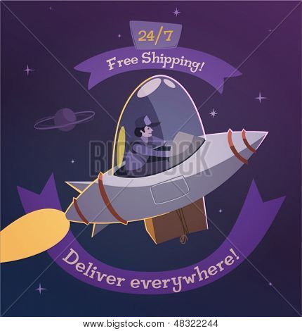 Deliver everywhere. Shipping illustration.