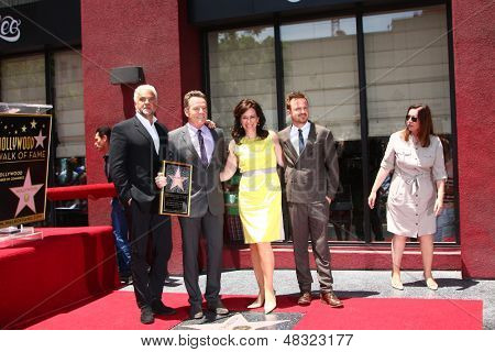 LOS ANGELES - JUL 16:  John O'Hurley. Bryan Cranston, Jane Kaczmarek, Aaron Paul at the Hollywood Walk of Fame Star Ceremony for Bryan Cranston at the Redbury Hotel on July 16, 2013 in Los Angeles, CA