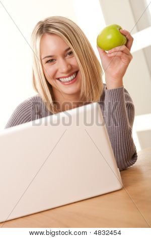 Students Series - Smiling Blond Student Working With Laptop