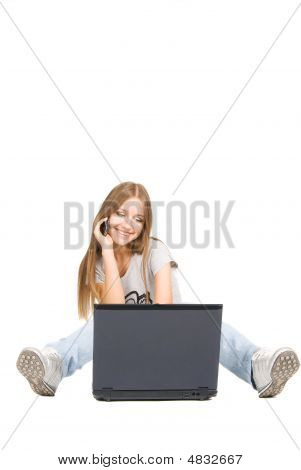 Pretty Girl With Phone And Laptop