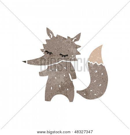retro cartoon little wolf