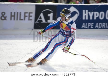 KITZBUHEL TIROL, AUSTRIA - JAN 24 2009; Kitzbuhel Tirol Austria, Adrien Theaux (FRA) competing in the Hahnenkamm race  the men's downhill ski race part of the Audi FIS Alpine Ski  World cup.