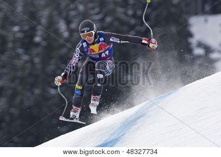 KITZBUHEL TIROL, AUSTRIA - JAN 24 2009; Kitzbuhel Tirol Austria, Kevin Francis (USA) competing in the Hahnenkamm race  the men's downhill ski race part of the Audi FIS Alpine Ski  World cup.