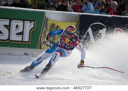 KITZBUHEL TIROL, AUSTRIA - JAN 24 2009; Kitzbuhel Tirol Austria, Didier Cuche (SUI) competing in the Hahnenkamm race  the men's downhill ski race part of the Audi FIS Alpine Ski  World cup.