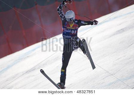 KITZBUHEL TIROL, AUSTRIA - JAN 24 2009; Kitzbuhel Tirol Austria, Thomas Lanning (USA) crashing out whilst competing in the Hahnenkamm race  the men's downhill ski race part of the Audi FIS Alpine Ski  World cup.