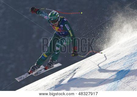 KITZBUHEL TIROL, AUSTRIA - JAN 24 2009; Kitzbuhel Tirol Austria, Bode Miller (USA) joint fourth  in the Hahnenkamm race  the men's downhill ski race part of the Audi FIS Alpine Ski  World cup.
