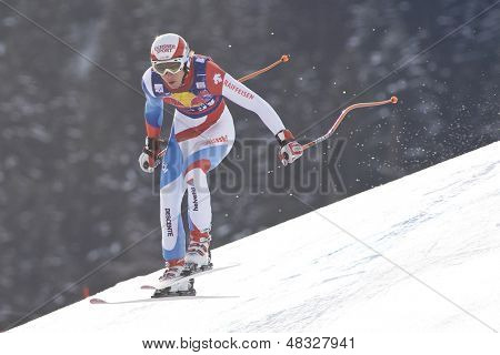 KITZBUHEL TIROL, AUSTRIA - JAN 24 2009; Kitzbuhel Tirol Austria, Carlo Janka (SUI) competing in the Hahnenkamm race  the men's downhill ski race part of the Audi FIS Alpine Ski  World cup.