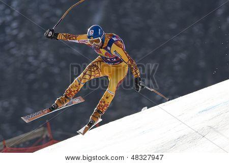 KITZBUHEL TIROL, AUSTRIA - JAN 24 2009; Kitzbuhel Tirol Austria, Manuel Osbourne-Paradis (CAN) competing in the Hahnenkamm race  the men's downhill ski race part of the Audi FIS Alpine Ski  World cup.