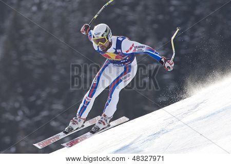 KITZBUHEL TIROL, AUSTRIA - JAN 24 2009; Kitzbuhel Tirol Austria, Pierre Emanuel-Dalcin (FRA) competing in the Hahnenkamm race  the men's downhill ski race part of the Audi FIS Alpine Ski  World cup.