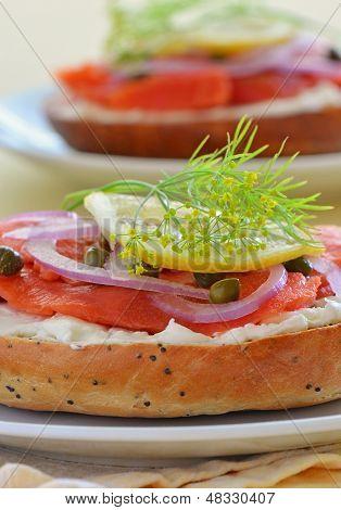 Smoked Salmon Lox On Poppy Seed Onion Bagel