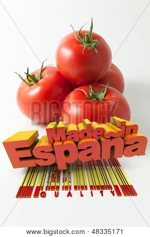 Tomatoes with the words Made in Espa���±a and a bar code marked quality