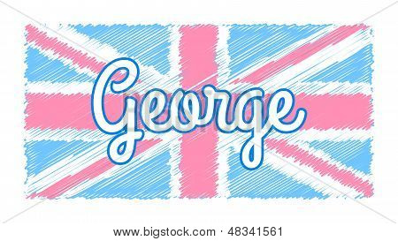 Union Jack with pastel color with George poster