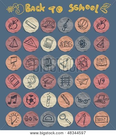 Freehand drawing school icons set
