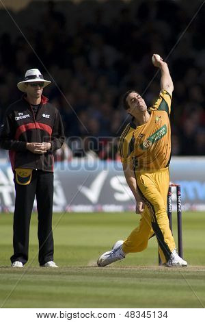 LONDON - 12 SEPT 2009; London England: Australia team player Mitchell Johnson during the Nat West, 4th one day international cricket match between England and Australia held at Lords Cricket ground