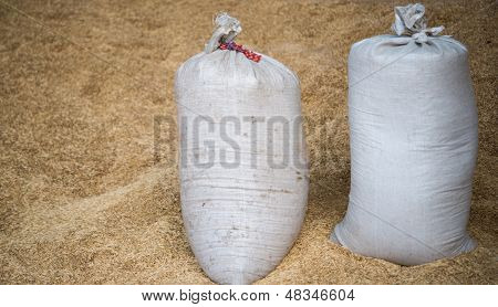 bags with a crop of oats millet, net, nostalgia,