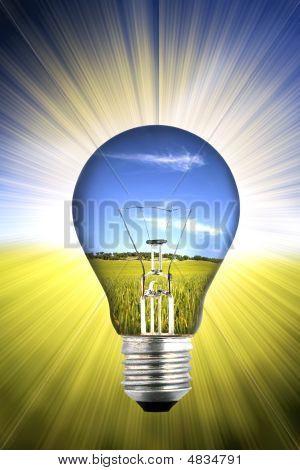 Background With Landscape Inside Light Bulb