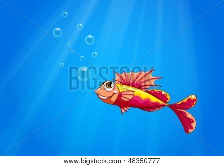 Illustration of an ugly fish underwater