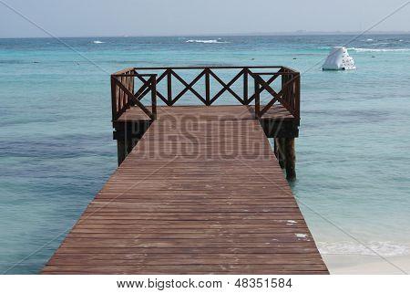 beach bridge,Cancun, Mexico