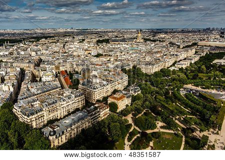 Aerial View on Champ de Mars and Invalides from the Eiffel Tower Paris France poster